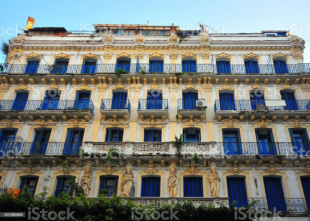 Algiers, Algeria: wrought iron balconies and Caryatids stock photo