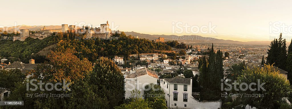 Alhambra and Granada panorama stock photo