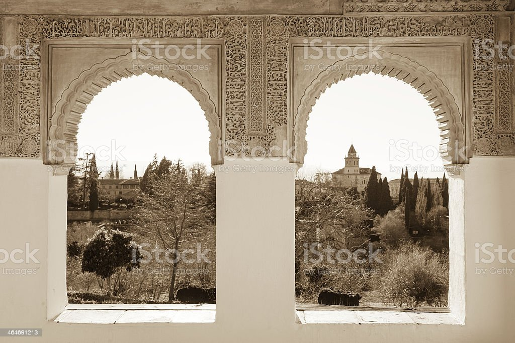 Alhambra arches in sepia stock photo