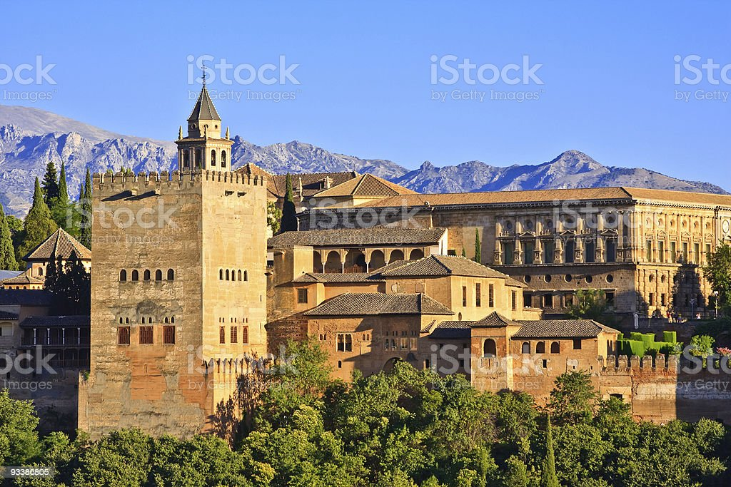 Alhambra at sunset stock photo