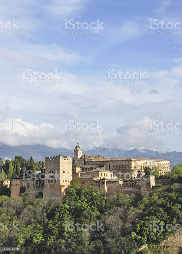 Alhambra Castle in Spain during Springtime stock photo