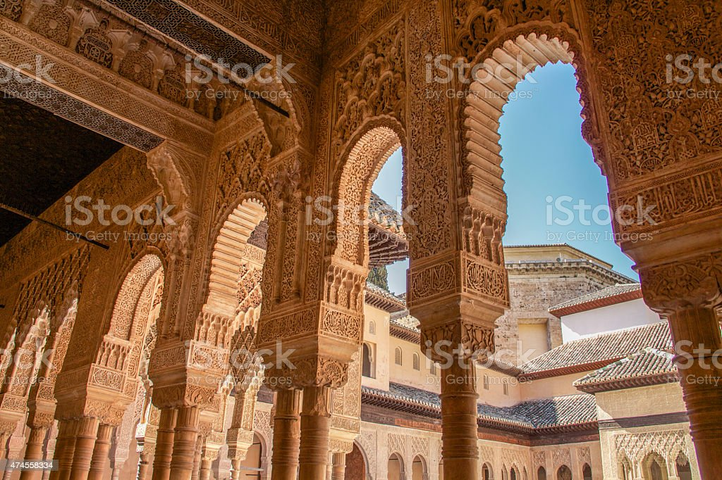 Alhambra columns around the Court of Lions stock photo