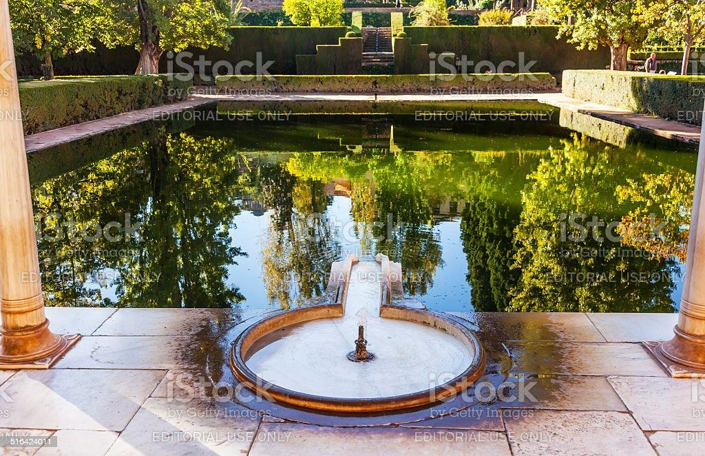 Alhambra Courtyard El Partal Fountain Pool Reflection Granada An stock photo