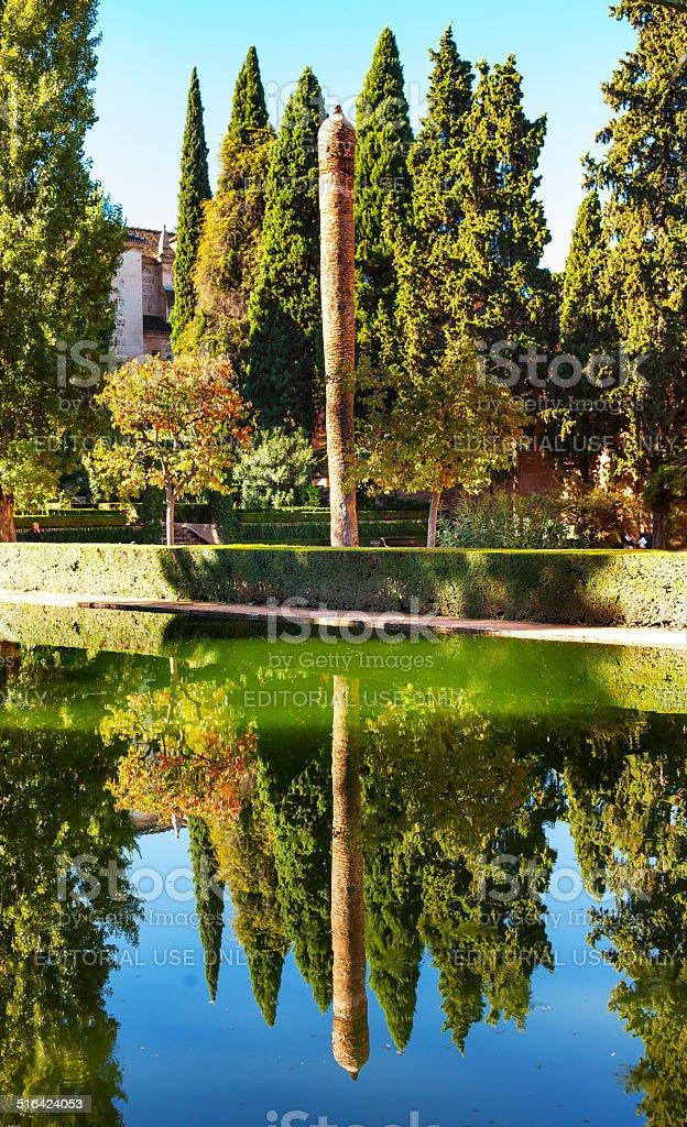 Alhambra Courtyard El Partal Garden Pool Reflection Granada Anda stock photo