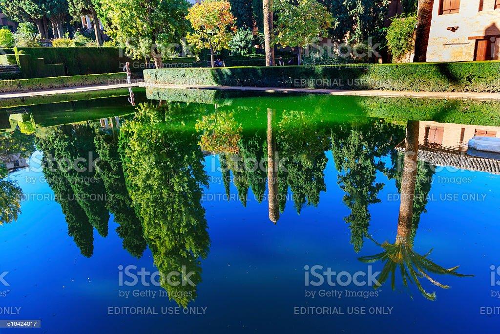 Alhambra Courtyard El Partal Pool Garden Reflection Granada Anda stock photo