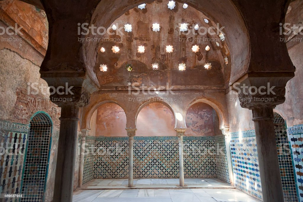 Alhambra de Granada. Arabic baths in Nasrid palaces stock photo