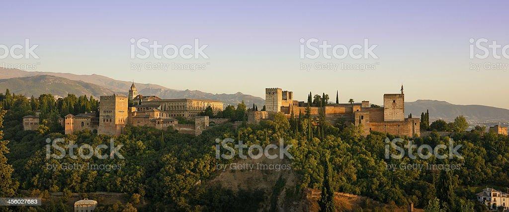 Alhambra Golden Hour Panorama in Granada, Spain stock photo