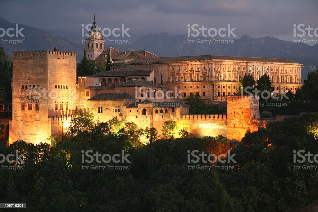Alhambra Granada at twilight stock photo