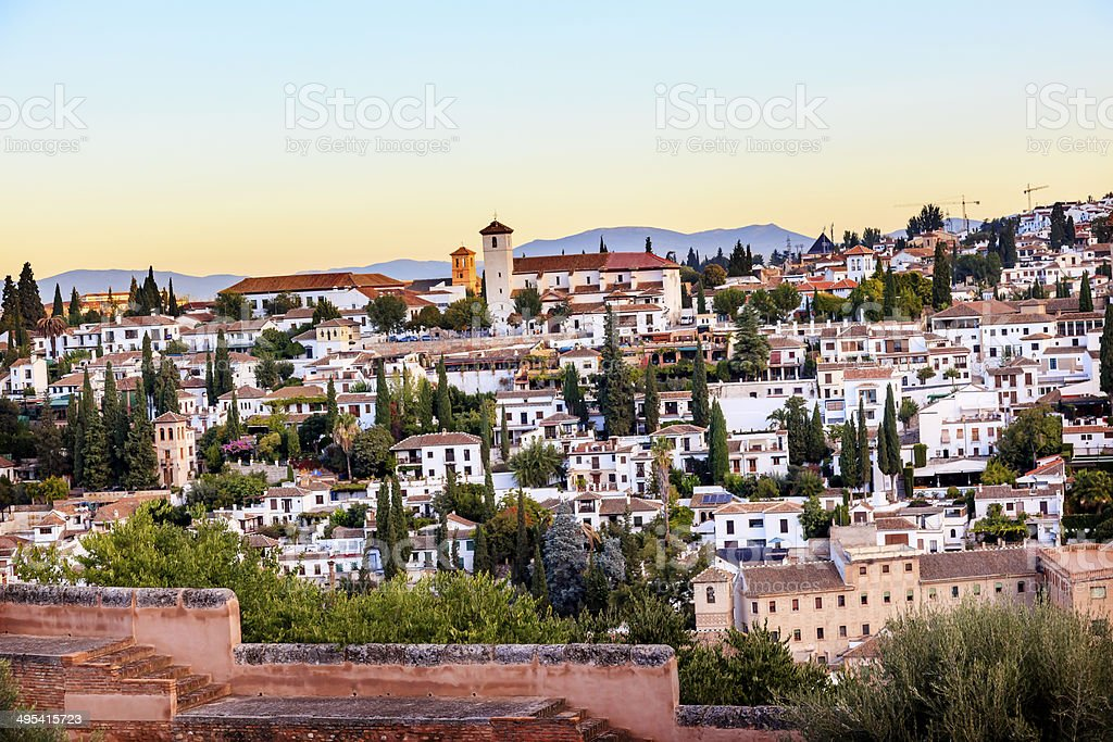 Alhambra Granada Cityscape Churches Andalusia Spain stock photo