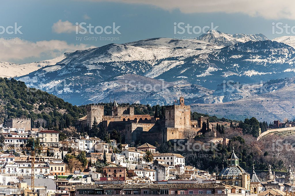 Alhambra in winter stock photo