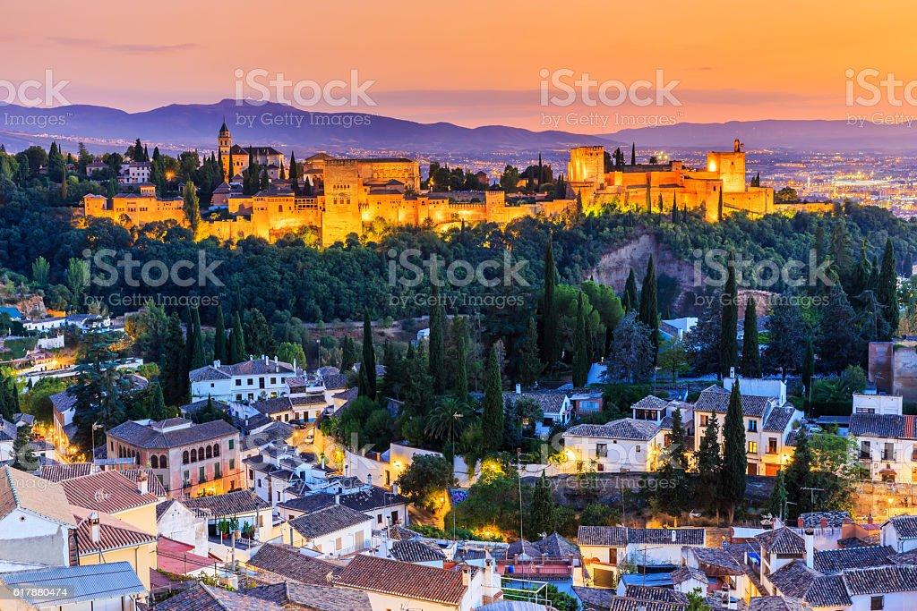 Alhambra of Granada, Spain. stock photo