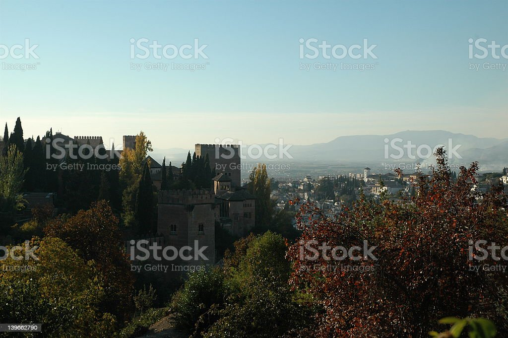 Alhambra palace from the Genaralife stock photo
