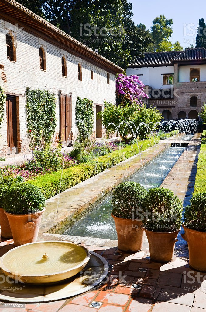 Alhambra, Patio de la Acequia (Spain) stock photo