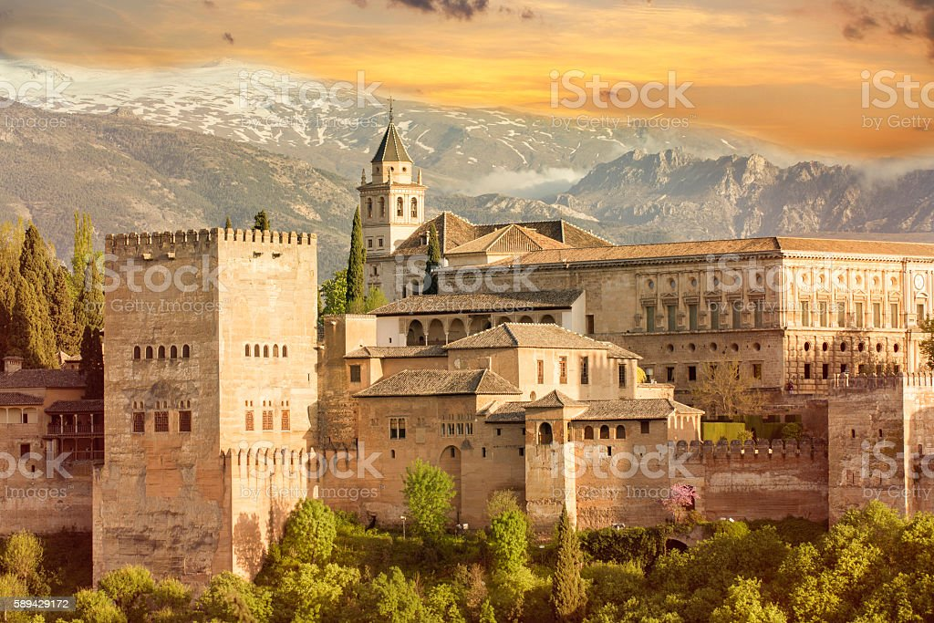 alhambra sunset stock photo