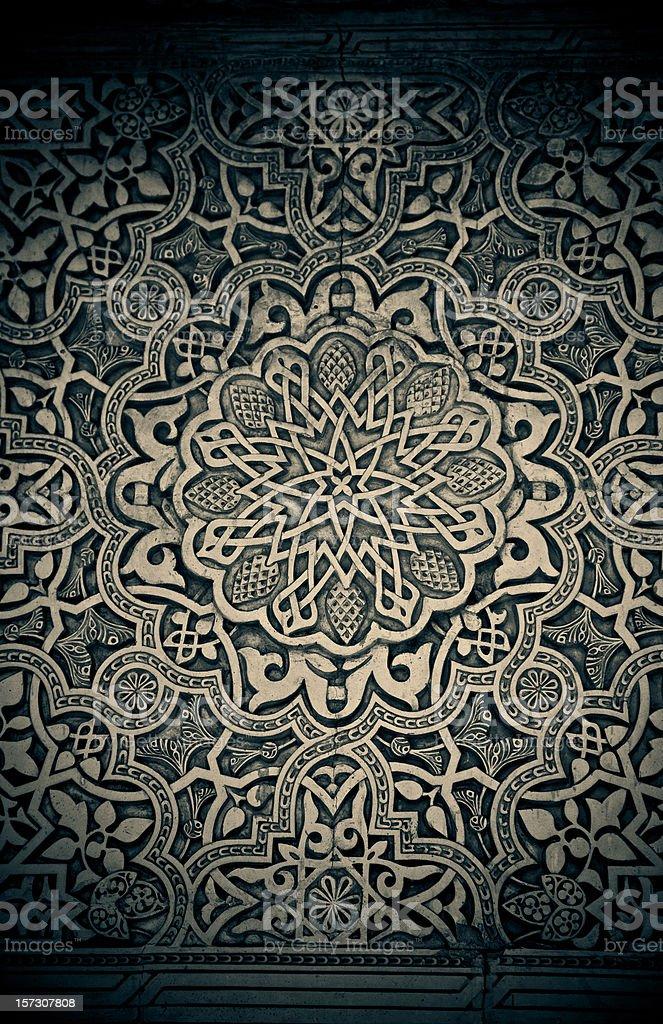 alhambra wall filigree stock photo