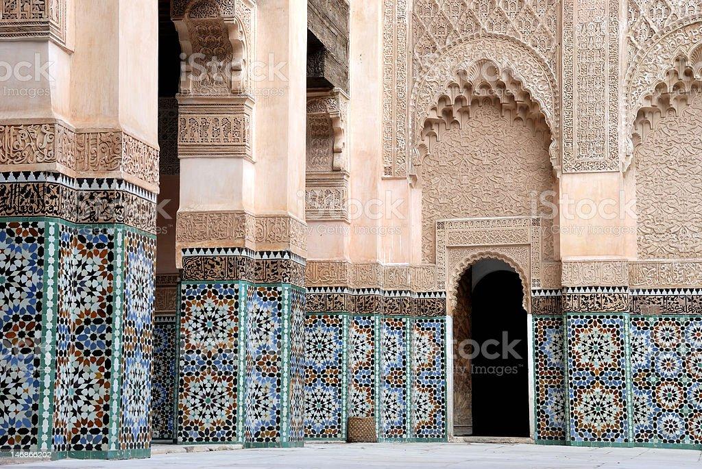 Ali Ben Youssef Madrassa in Marrakesh, Morocco. royalty-free stock photo