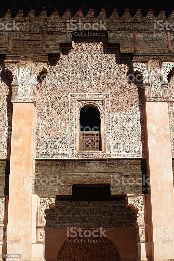 Ali Ben Youssuf Madressa facade at Marrakech. Vertical. stock photo