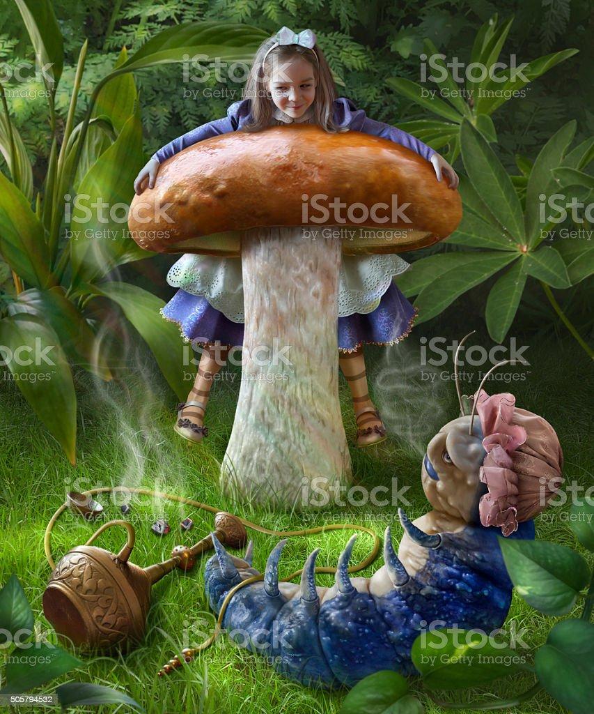 Alice and blue caterpillar stock photo