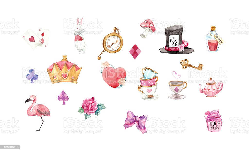 Alice in Wonderland graphic elements watercolor set with clpping path stock photo