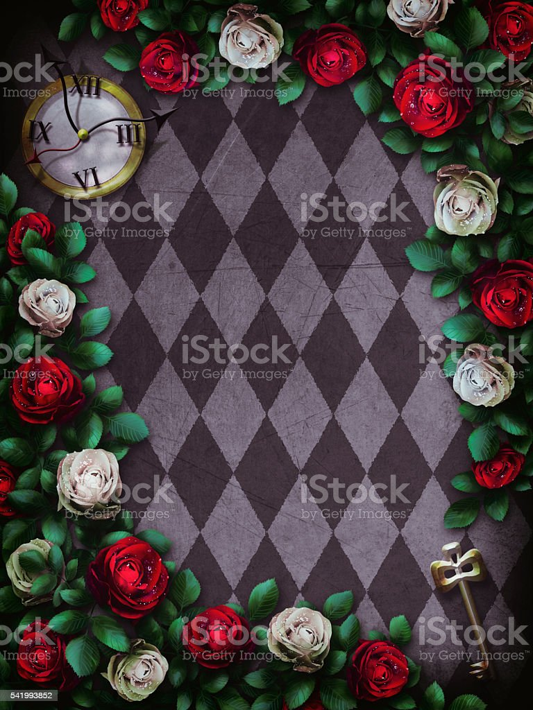 Alice in Wonderland. Red  roses and white roses stock photo