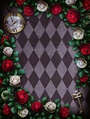 Alice in Wonderland. Red  roses and white roses