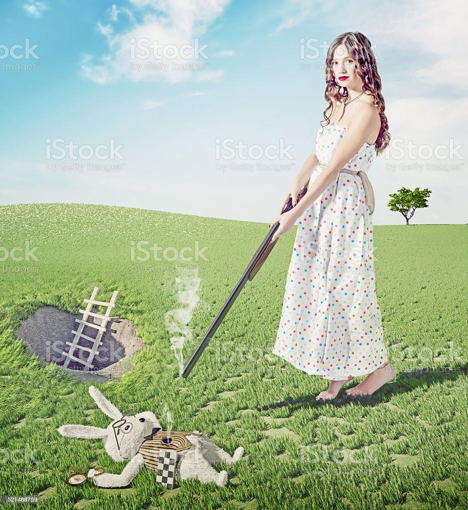 Alice kills white rabbit stock photo
