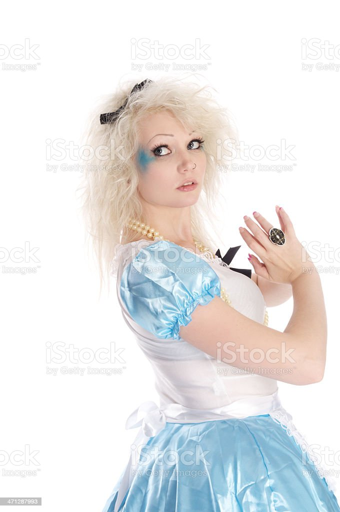 Alice looking back over shoulder. stock photo