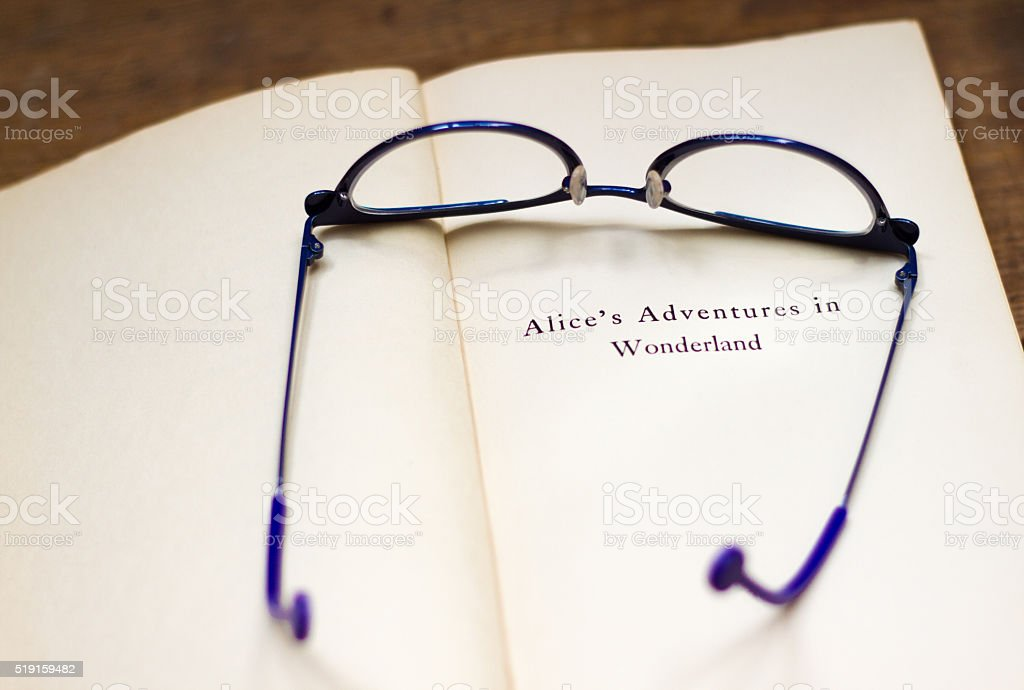 'Alice's Adventures in Wonderland' Title Page, with Chic Eyeglasses stock photo