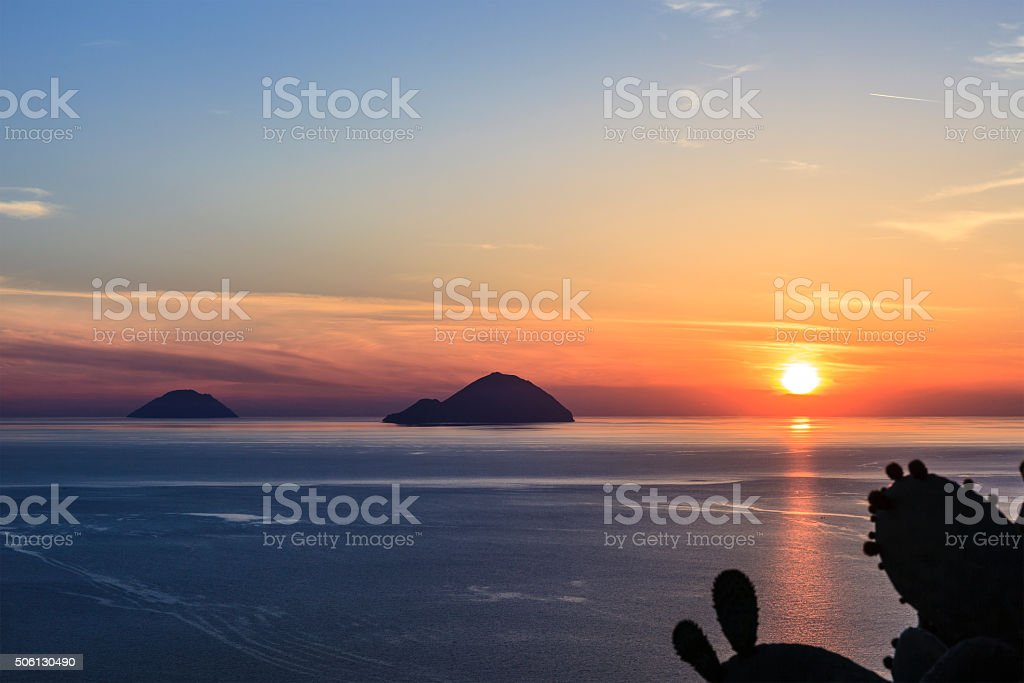 Alicudi and Filicudi seen from Lipari, Aeolian Islands - Sicily stock photo
