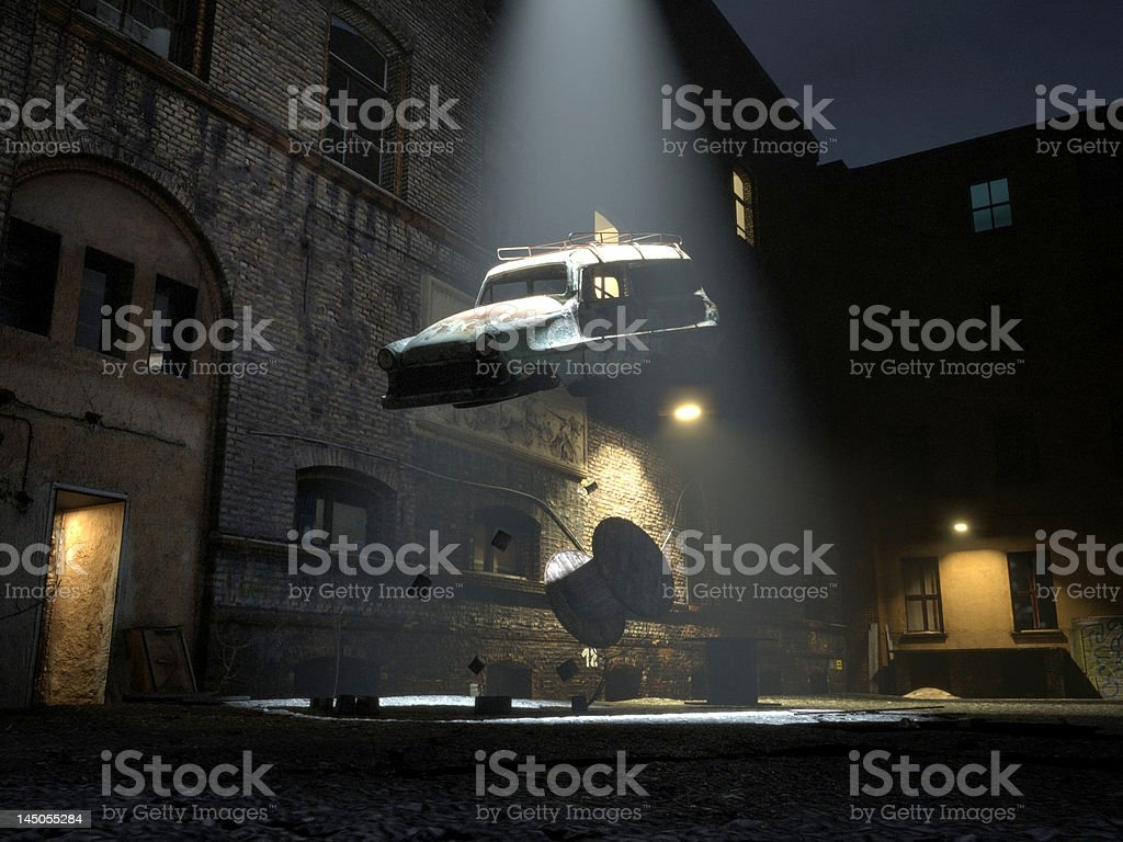 Alien abduction / recycling stock photo