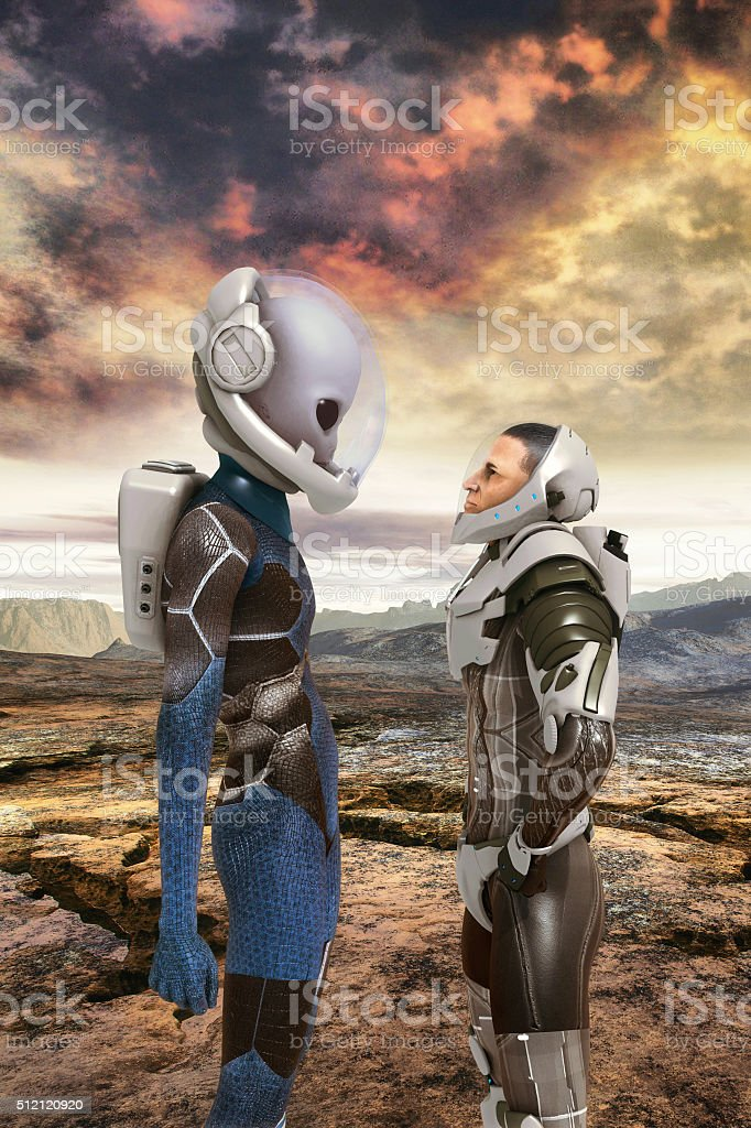 Alien and human astronauts encounter stock photo