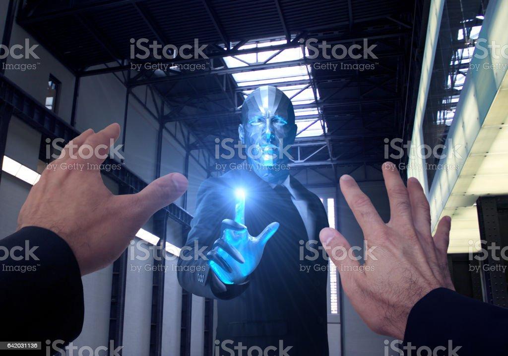 Alien Attack in The Secret Base stock photo