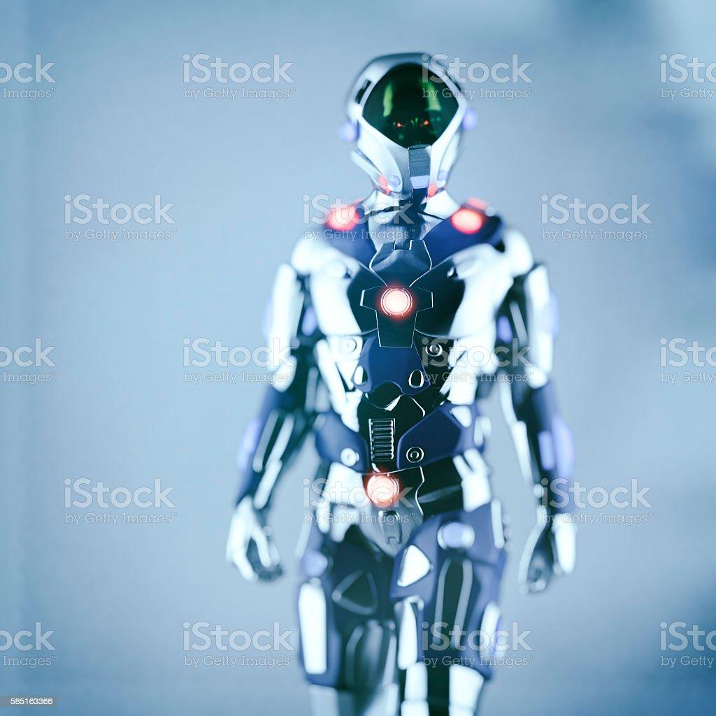 Alien cyborg astronaut stock photo
