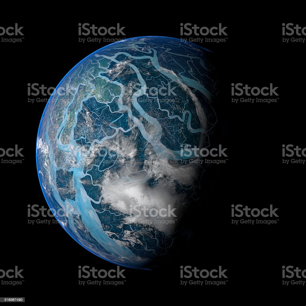 Alien Exo Planet. Elements of this image furnished by NASA. stock photo