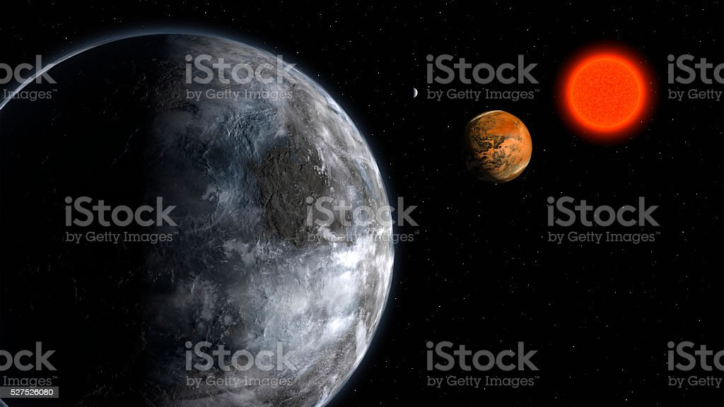 Alien Exo Planet. Elements of this image furnished by NASA stock photo