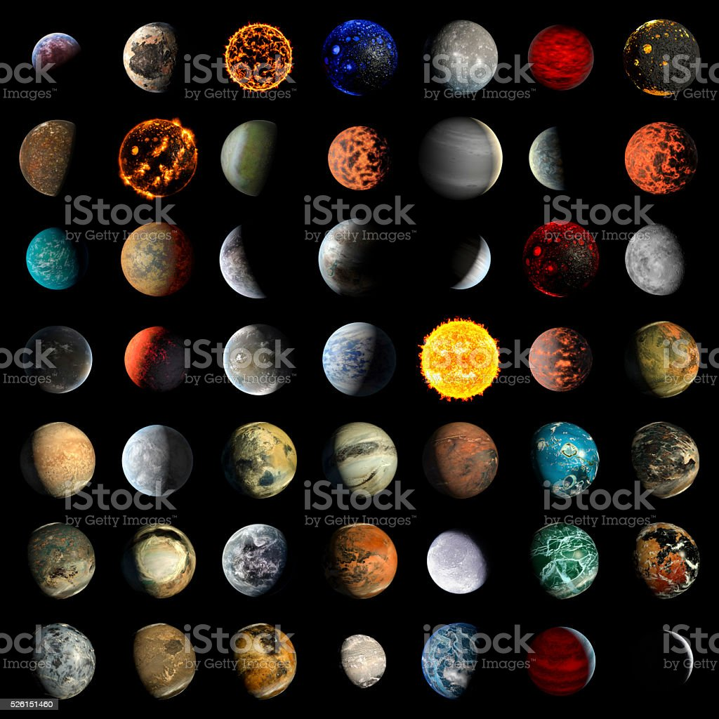 Alien Exo Planet set stock photo
