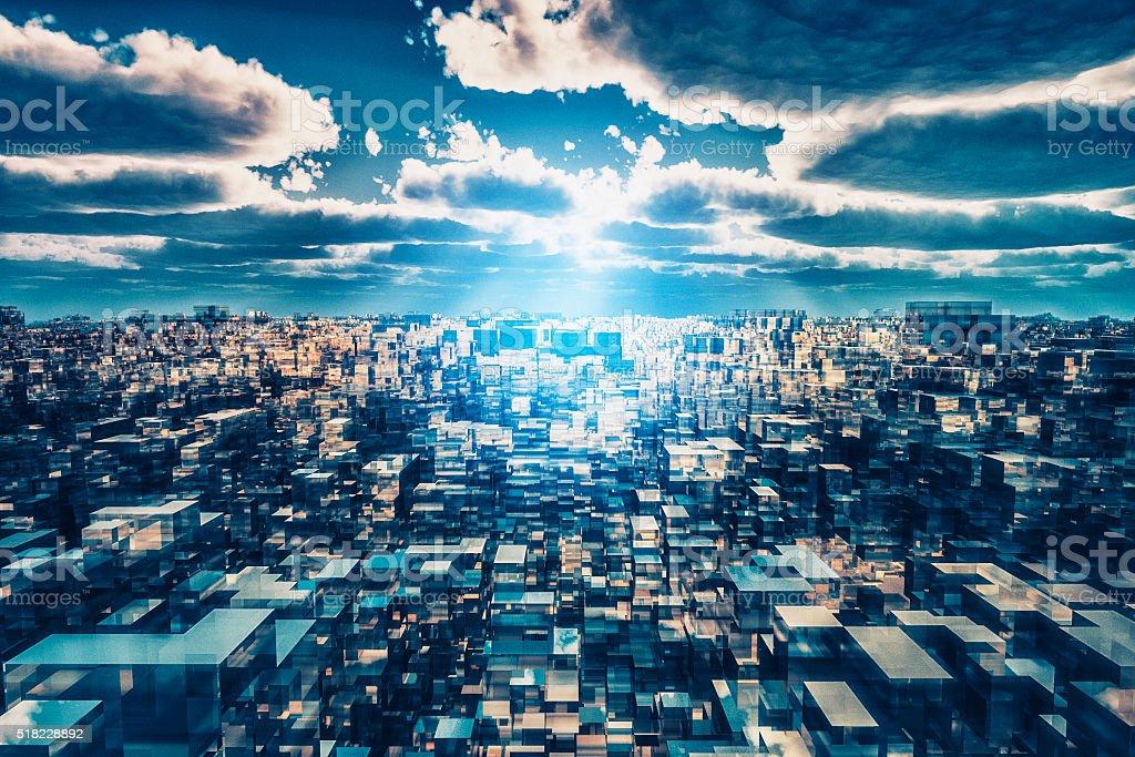 Alien futuristic cityscape stock photo