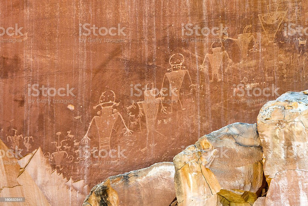 Alien inspired Petroglyph royalty-free stock photo