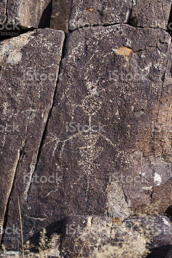 Alien inspired Petroglyph royalty-free stock photo