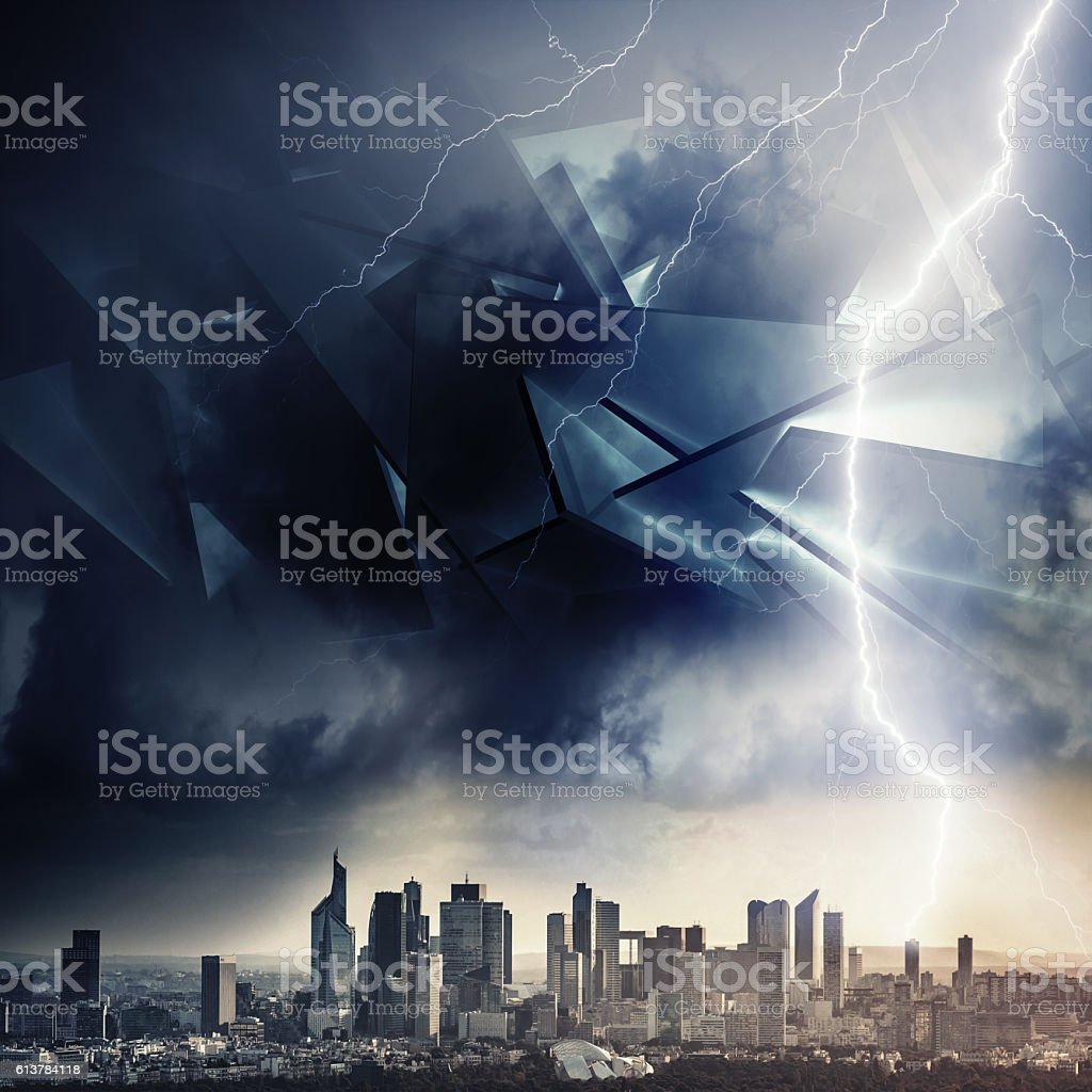 Alien invasion concept illustration, strom vector art illustration