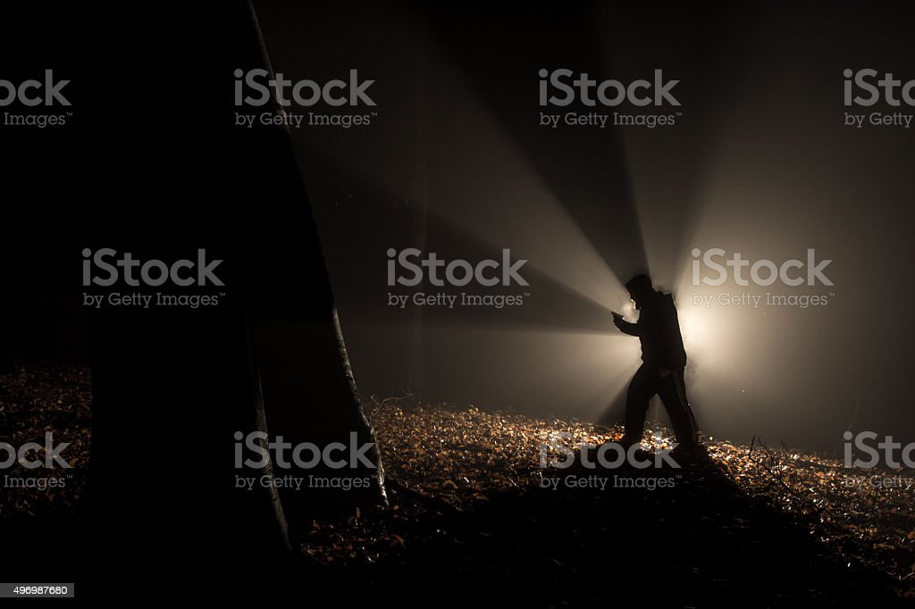 alien killer in the dark forest stock photo