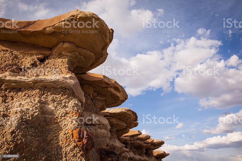 Alien landscape in Bisti Badlands of New Mexico stock photo