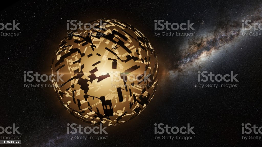 alien mega structure, sphere around a distant star in front of the Milky Way stock photo