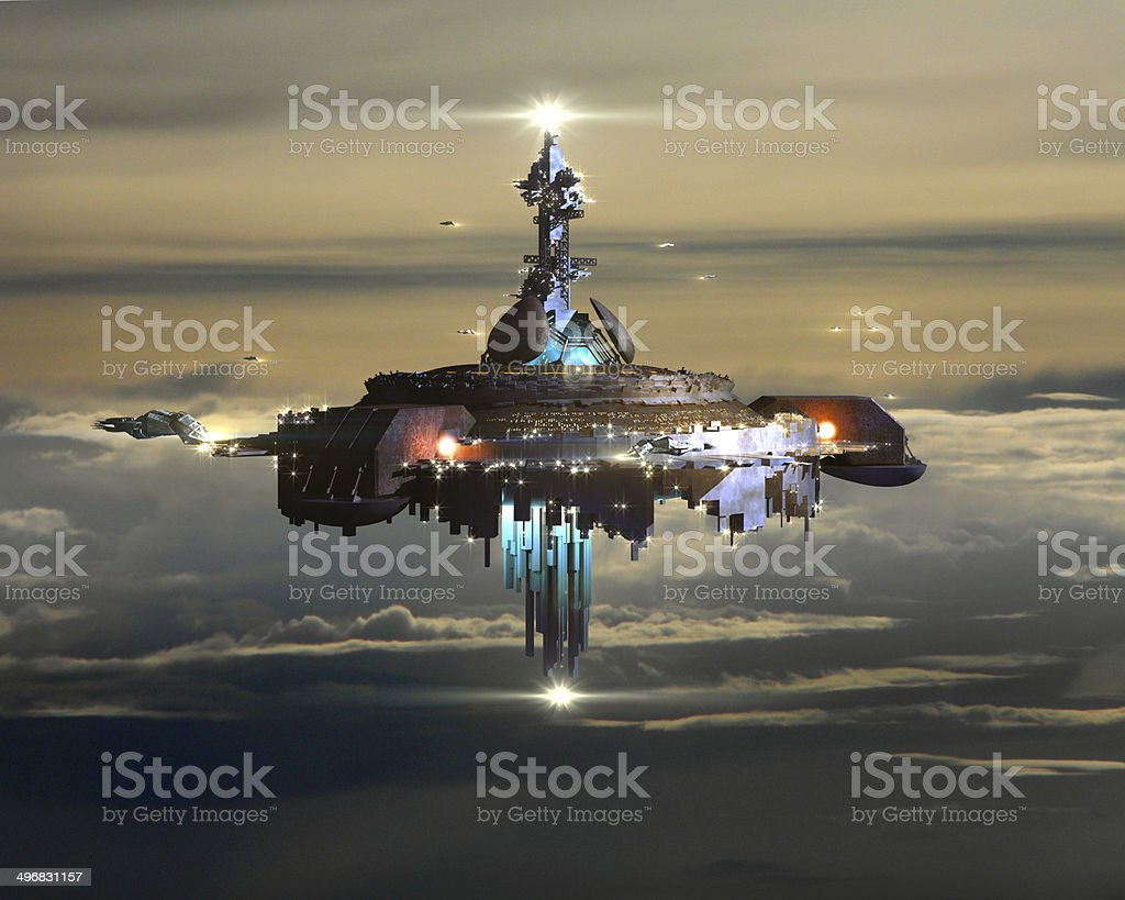 Alien Mothership above clouds stock photo