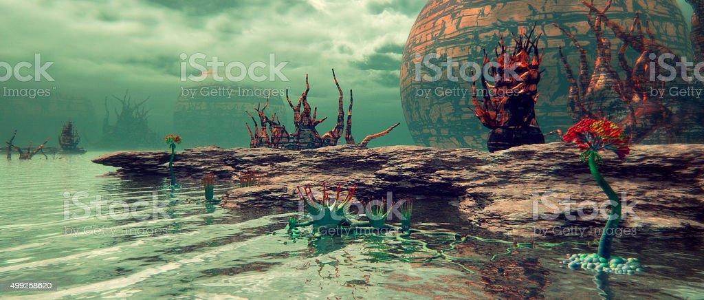 Alien nature landscape, exoplanet stock photo