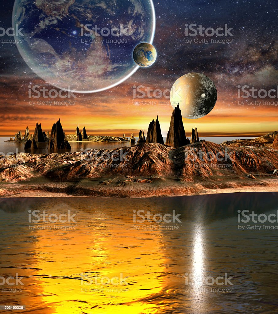 Alien planet with mountains, sea and planets on background stock photo