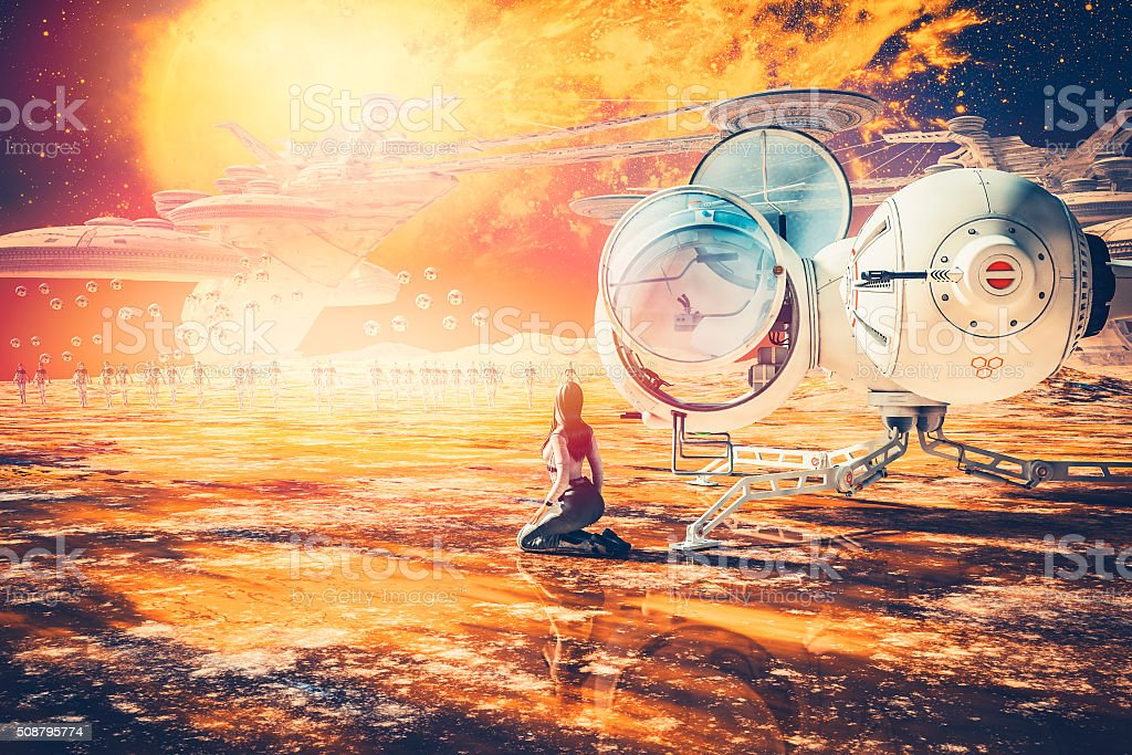Alien planet with robots, drones and background city hive stock photo