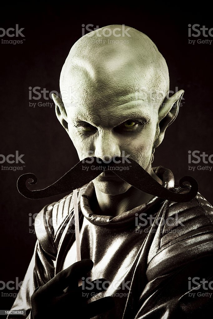 Alien Portrait and Mustache royalty-free stock photo