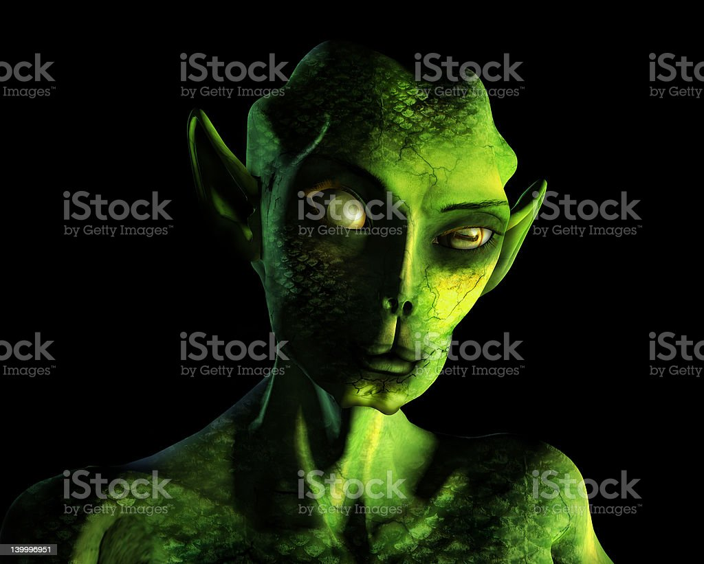 Alien Portrait - with clipping path royalty-free stock photo