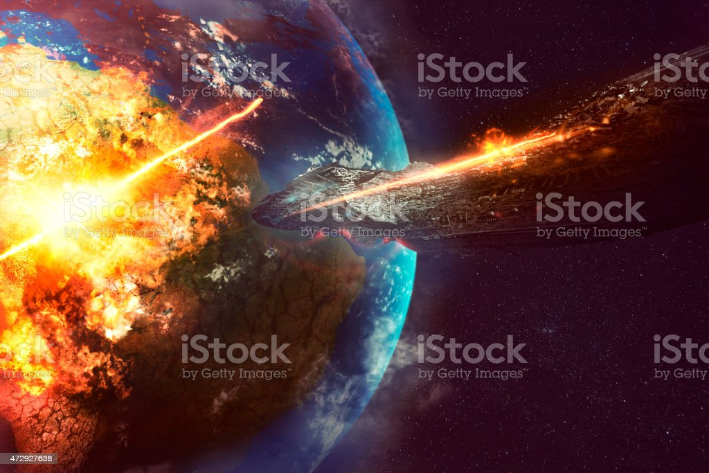 Alien spaceship destroying Earth stock photo